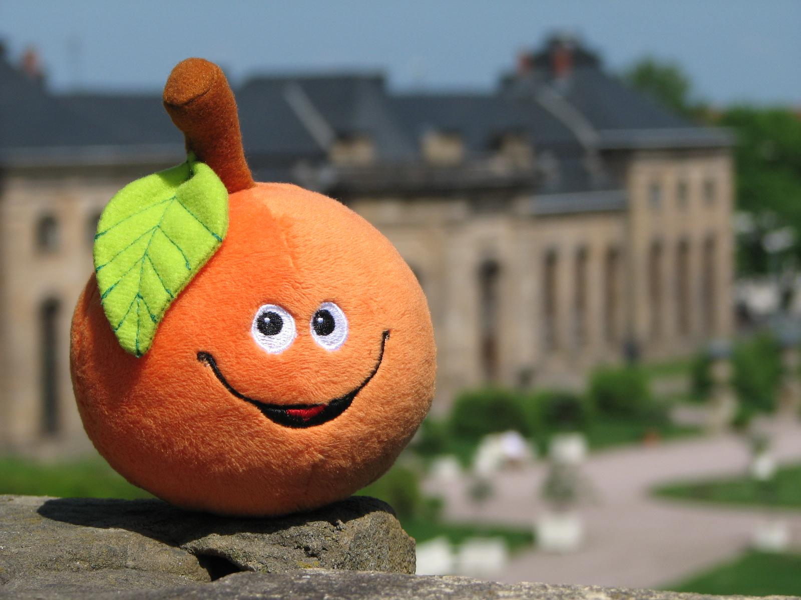 """Kreiiert vom Gothaer Künstler Kai Kretzschmar und dem Autor Andreas M. Cramer, macht """"Sina die Orange"""" seit 2007 """"Lust auf Orange(rie)"""". Hier präsentiert sie sich passend vor dem Hintergrund des """"Orangenhaus"""" genannten nördlichen Kalthauses der Orangerie. (Foto: Cramer)"""