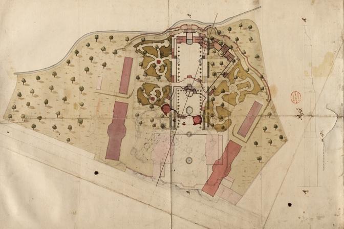 Von Krohne vorgenommene Überplanung des Ordonnanzgartens. Gut erkennbar ist, dass die ursprüngliche Mittelachse der Anlage geschwenkt wurde, um die Orangerie exakt auf das Schloss Friedrichsthal auszurichten. (Original: ThStA Gotha)