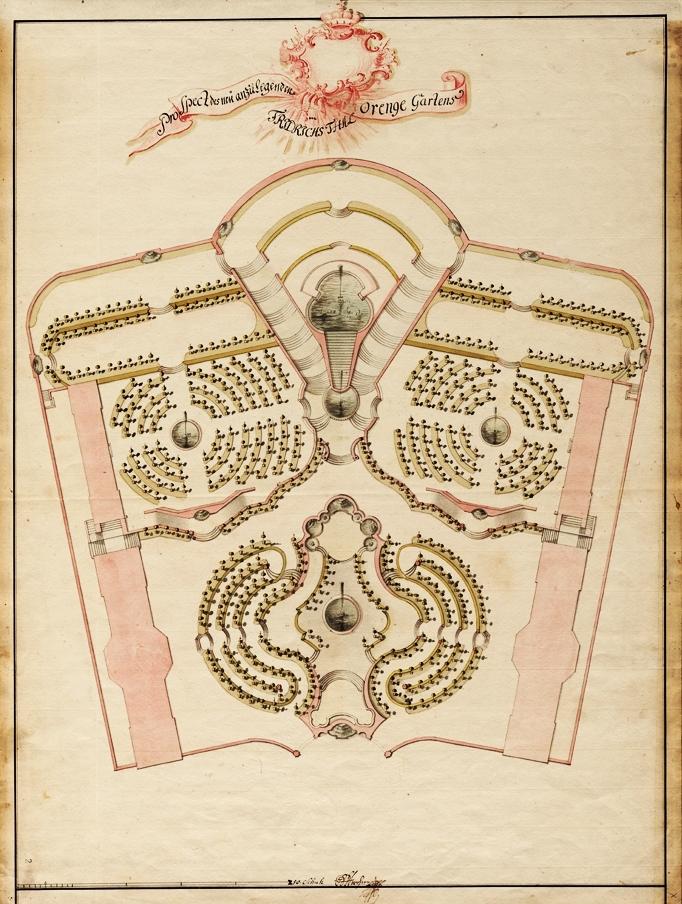 """Einer der von Krohne 1747 vorgelegten Entwürfe für den neuen """"Orangengarten"""" mit Grundrissen der vier geplanten Gebäude und aufwändig gestalteten Gartenanlagen. Der rechte Entwurf ist betitelt mit """"Prospect des neu anzulegenden Orenge Gartens im Friedrichsthal"""". (Originale: ThStA Gotha)"""