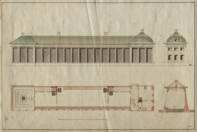 Entwurfszeichnung des nördlichen Treibhauses, das als drittes Gebäude der Orangerie errichtet wurde. Um das natürliche Gefälle des Bauplatzes optisch auszugleichen, wurde der östliche Pavillon (rechts) mit einem etwas höheren Pagodendach versehen. Bis auf den heute nicht mehr vorhandenen barocken Fassadenschmuck ist das Treibhaus in seiner ursprünglichen Gestalt erhalten. (Original: ThStA Gotha)