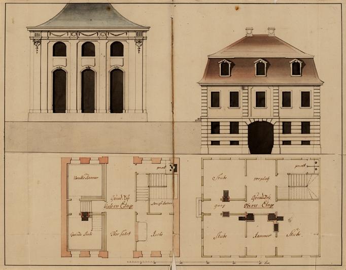 """Kolorierte Federzeichnung des Hofgärtnerhauses (rechts), das nördlich hinter dem """"Orangenhaus"""" (links) errichtet wurde. Da das Gebäude aufgrund des Straßengefälles tiefer liegt als die Orangerie, wurde im ersten Stock ein (heute nicht mehr existierender) Ausgang mit Treppe geschaffen, über den die hier wohnenden Hofgärtner ohne Umwege in die Gartenanlage gelangen konnten. (Original: ThStA Gotha)"""