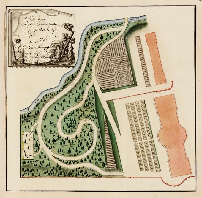 """Lageplan der 1781 über den Leinakanal hinweg (d.h. nordöstlich unterhalb des """"Teeschlösschens"""") geschaffenen Erweiterung des """"Gartens der Herzogin"""". Gut erkennbar sind die Grundrisse von """"Lorbeerhaus"""" und benachbartem Treibhaus sowie die dahinter befindlichen Beete und Glaskästen. Die Buchstaben bezeichnen: """"A. Die Leine (den Leinakanal), B. Die Prommenaten, C. Ein quartier Land zum Blumen ziehen ... und D. Die Menagerie ..."""" Kolorierte Federzeichnung aus dem Jahre 1781, Obergärtner Johann Conrad Sahl zugeschrieben. (Original: ThStA Gotha)"""