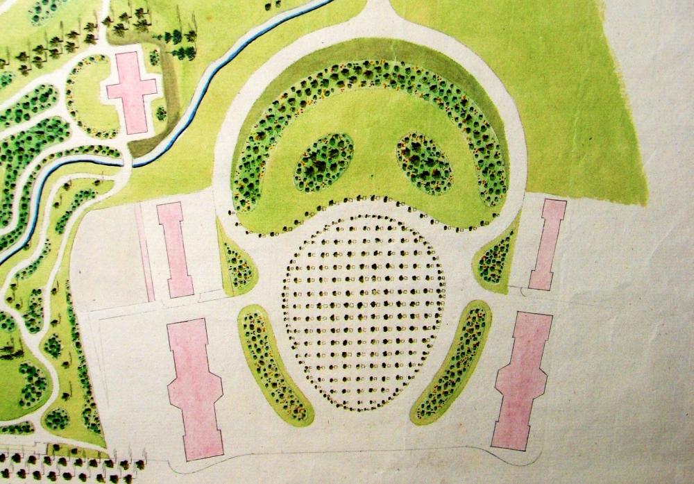 """Ausschnitt mit der Orangerie aus dem """"Gesamtplan zum 'Englischen Garten', den Anlagen und dem Garten der Herzogin"""". 1795 von Johann Rudolph Eyserbeck gezeichnet, stellen die Formen der Rasenflächen und die Aufstellung der Bäume wahrscheinlich nur einen Vorschlag Eyserbecks dar, der nicht umgesetzt wurde. (Original: ThStA Gotha)"""