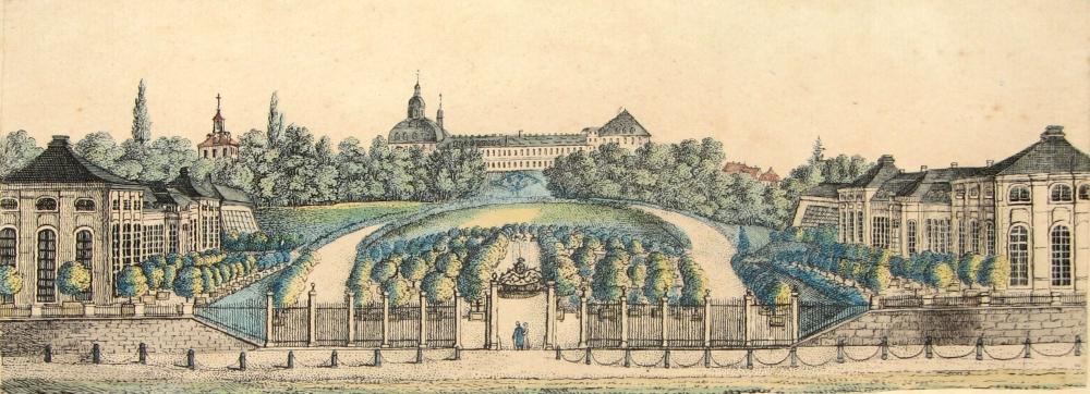 Zu Beginn des 19. Jahrhunderts entstand diese kolorierte Federzeichnung des Orangeriegartens, ebenfalls vom Schloss Friedrichsthal aus gesehen. (Original: MRV)