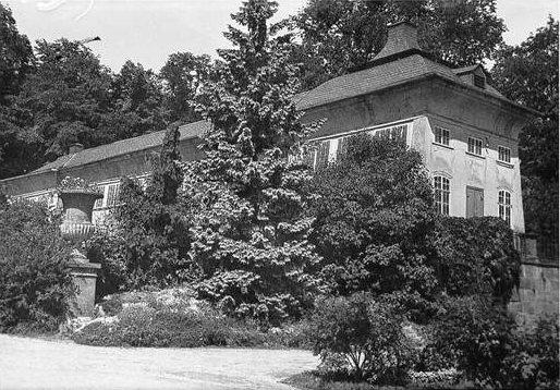 Obwohl üppiger Baumwuchs um 1930 einen Teil der Sicht auf das nördliche Treibhaus verdeckt, ist zu erkennen, dass die einst hohen Glasfenster der Fassade inzwischen stark verkleinert wurden. (Foto: MRV)