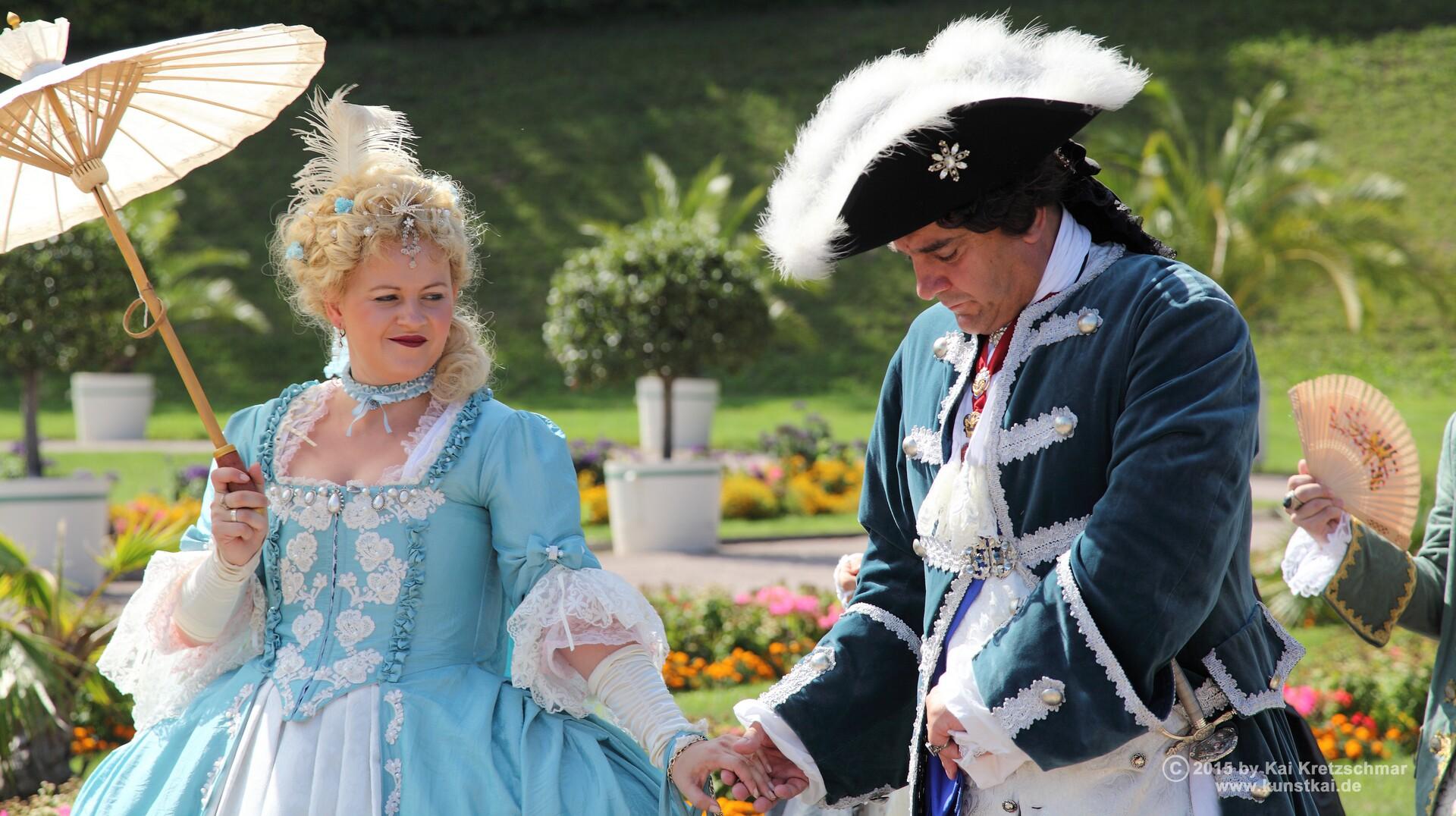 Ihre Hochfürstlichen Durchlauchten beim Lustwandeln in der Orangerie: Herzog Friedrich III. von Sachsen-Gotha-Altenburg und seine Gemahlin Louise Dorotheé